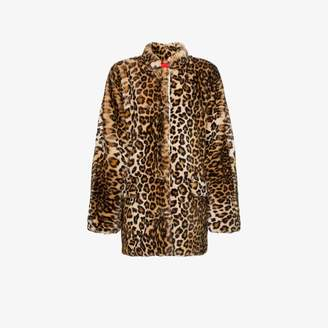 Sandy Liang Montague collared leopard print faux fur coat ea00fe52d