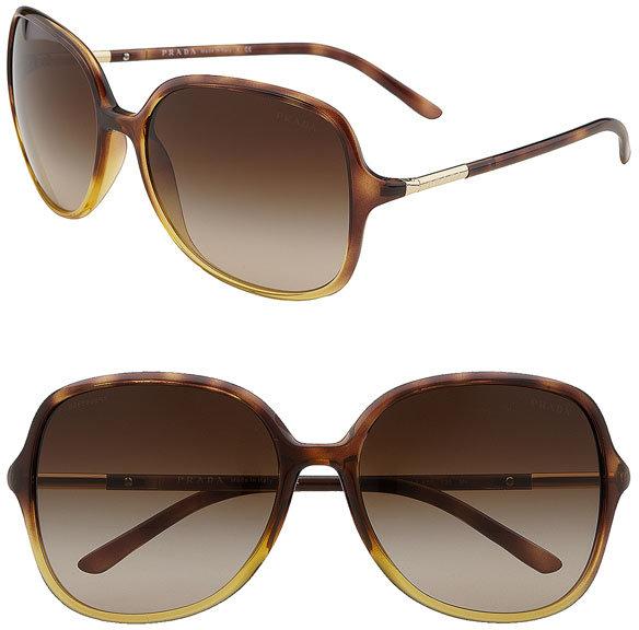 Prada Oversized Tubular Temple Sunglasses