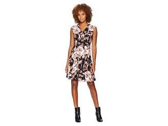 London Times V-Neck Blossom Crepe Scuba Dress