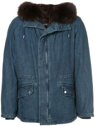 Yves Salomon fur hooded denim coat