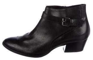 Aquatalia Leather Round-Toe Ankle Boots