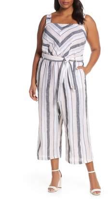 Vince Camuto Sorbet Stripe Belted Linen Jumpsuit