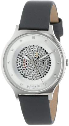 Johan Eric Women's JE1600-04-001.3 Orstead Round Stainless Steel Silver Sunray Dial Swarovski Crystal Watch