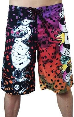 "Ed Hardy New Love is a Gamble"" Board Shorts Swim Surf Trunks EHM01GM"