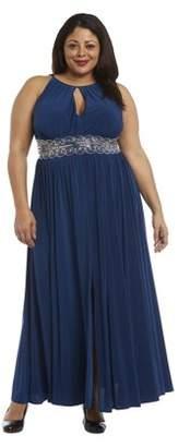 Roland Mouret R&M Women's Plus Size 1 Piece Beaded Waist Long Dress