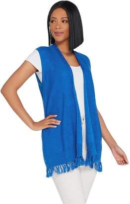 Susan Graver Linen Cotton Sweater Vest with Fringe