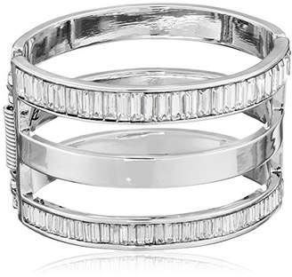 Kenneth Cole New York Sparkled Baguette Baguette Stone Cut-Out Hinged Bangle Bracelet