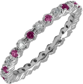 Simply Stacks Sterling Rhodolite Garnet & Diamond Stack Ring