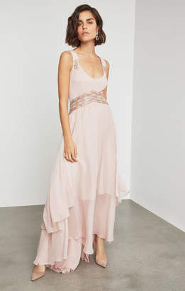 BCBGMAXAZRIA Sleeveless Beaded Embroidery Gown
