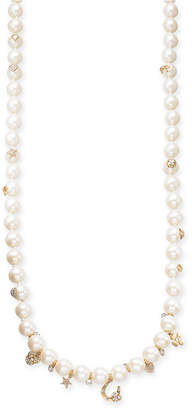 """Kate Spade Gold-Tone Crystal & Imitation Pearl Charm Strand Necklace 35"""" + 3"""" extender"""