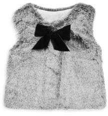 Lili Gaufrette Baby Girl's& Little Girl's Bow Faux Fur Vest