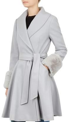 Ted Baker Zurii Faux-Fur-Trimmed Coat
