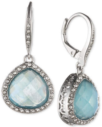 Jenny Packham Silver-Tone Pave & Stone Drop Earrings
