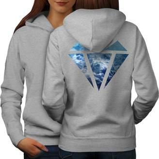 Wellcoda Abstract Diamond Womens Hoodie, Elegant Design on the Back Side M