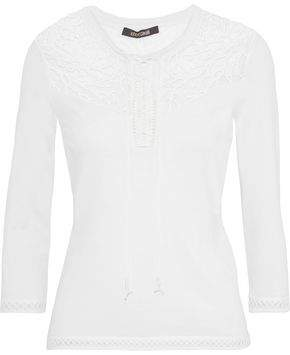 Roberto Cavalli Lace-Up Embroidered Tulle-Paneled Cotton-Blend Sweater