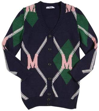 MSGM Argyle Knit Maxi Cardigan