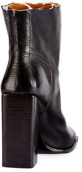 Saint Laurent Raw-Edge Leather Block-Heel Boot