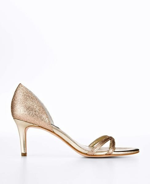 Ann Taylor Metallic Strappy Kitten Heel Sandals
