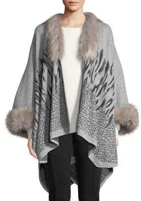 Neiman Marcus Cold Weather Ruana W/ Faux-Fur Trim