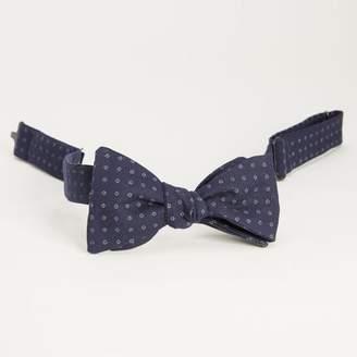Blade + Blue Japanese Indigo Dyed Navy Circle Print Bow Tie
