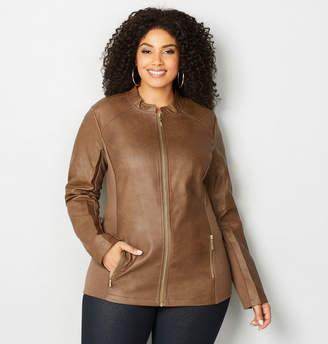ff69455a542 Plus Size Knit   Faux Leather Jacket - ShopStyle