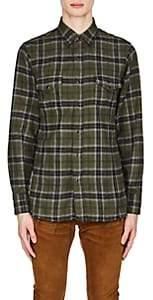 Saint Laurent Men's Plaid Cotton Flannel Oversized Western Shirt - Olive