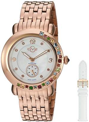 GV2 by Gevril Marsala Gemstone Womens With Gemstones and Diamonds Swiss Quartz Gold Stainless Steel Bracelet Watch