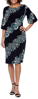 Ronni Nicole Short Sleeve Paisley Sheath Dress