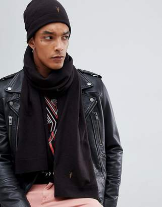 AllSaints Fen Beanie And Scarf Giftset In Lambswool Blend