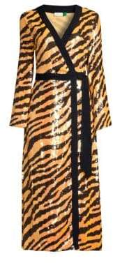 Rixo Gigi Tiger Sequin Wrap Dress