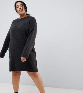 Asos DESIGN Curve Knitted Mini Dress In Fluffy Yarn