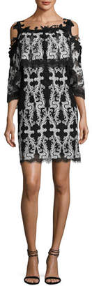 Kobi Halperin Reanna Cold-Shoulder Lace-Trim Popover Dress, Black/White