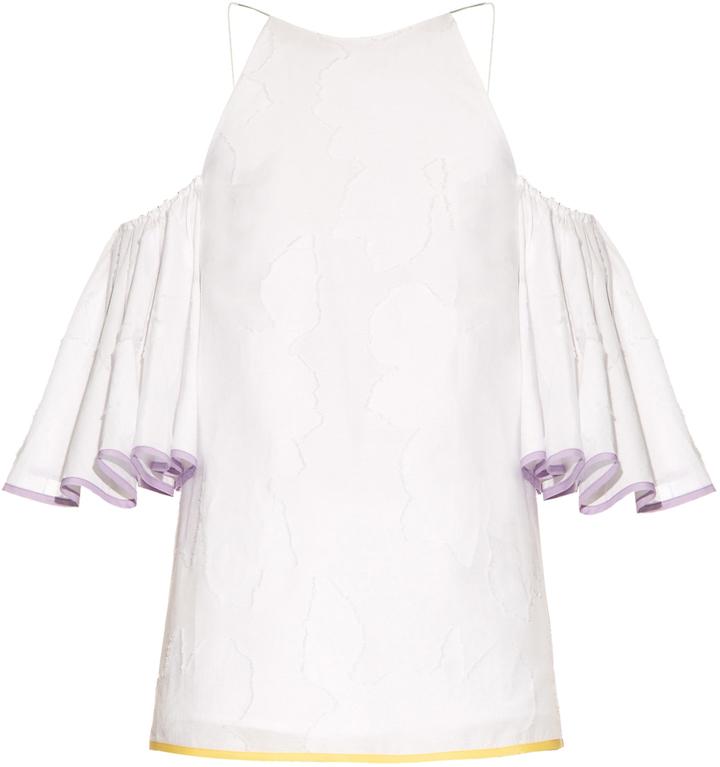 ANNA OCTOBER Frill cotton-blend jacquard top