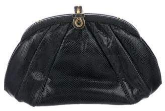 Judith Leiber Pleated Karung Frame Clutch