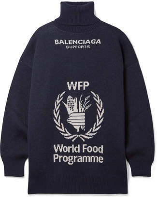 Balenciaga World Food Programme Oversized Intarsia Wool Turtleneck Sweater - Navy