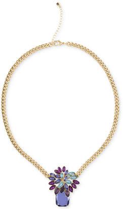 "Rachel Roy Gold-Tone Multi-Stone Pendant Necklace, 18"" + 2"" extender"