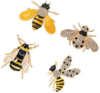 Dolity 4pcs Enamel Crystal Animal Insect Wedding Bridal Bouquet Brooch Pin Costume