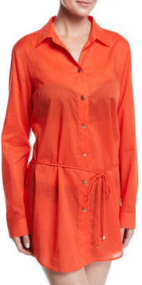 Tory Burch Brigitte Long-Sleeve Cotton Beach Tunic