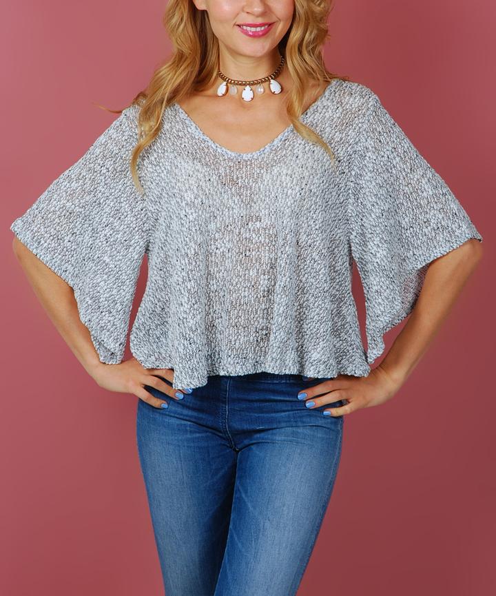 Gray Crochet-Accent Bell-Sleeve Top
