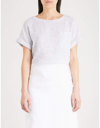 The White Company Striped chambray-linen T-shirt