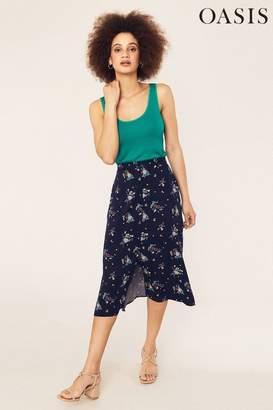Oasis Womens Blue Susan Spriggy Split Skirt - Blue