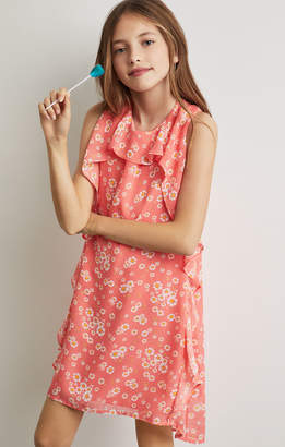 BCBGMAXAZRIA Floral Chiffon Draped Ruffle Dress