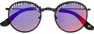 Freda Banana - Nas Crystal-embellished Round-frame Mirrored Sunglasses - Black