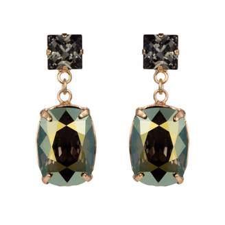 Nadia Minkoff - Rectangular Drop Stone Earring Iridescent Green