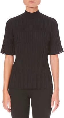 Carolina Herrera Elbow-Sleeve Turtleneck Knit Top