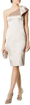 Karen Millen One-Shoulder Satin Sheath Dress