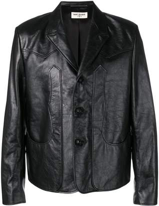 Saint Laurent buttoned leather jacket