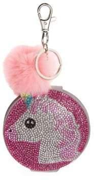 Bari Lynn Fox Fur Crystal Unicorn Mirror Keychain