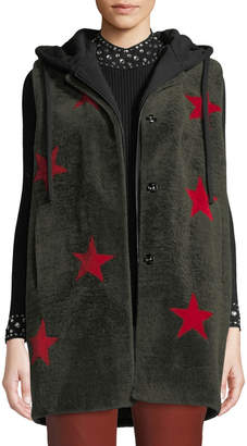 Zoey Annabelle New York Stars Lamb Shearling Fur Vest with Removable Hoodie