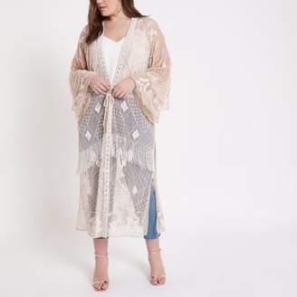 River Island Plus Beige embellished maxi kimono